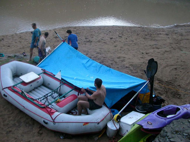 Shelter getting rigged for first night on the river bank.