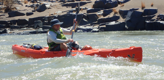 Paddling my new favourite kayak on the Orange River - my orange Marimba