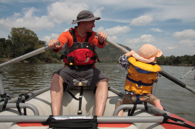 Ruben helping me row my oar raft on a multiday trip on the Vaal River.